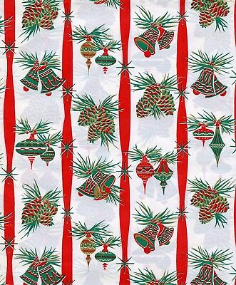 Vintage 1950s MID CENTURY ORNAMENTS Christmas Gift Wrap, Wrapping Paper, NOS #5