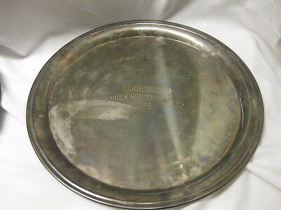 "Vtg Silver Plated BAMBERGERS Award Tray 12"" Ladies second low net 1968"
