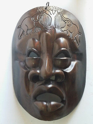 Wall Hanging Face Mask Big Ebony Wooden Sculpture African Wood Carving Plaque