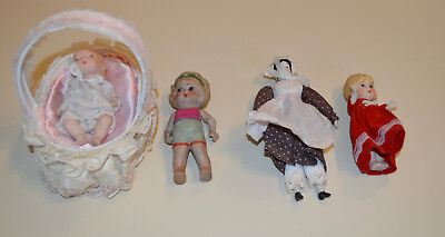 Lot Of 4 Vintage Small Bisque Baby Dolls 1 made in Occupied Japan - NICE!