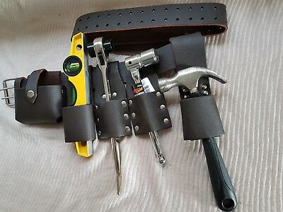 Scaffolding Brown Leather Tool Belt Full 1721 Ratchet Hammer Holder Top Quality