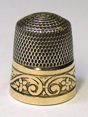 Antique Simons Bros. & Co. Gold Band Sterling Silver Thimble Flowers & Scrolls