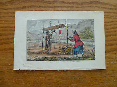 2 Engravings-Hand Colored-1850s-American Indians-Execution & Grave sites