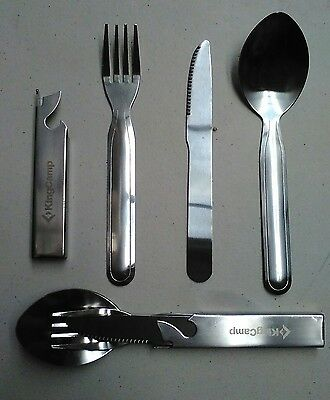 Stainless Steel Knife Fork And Spoon Set In Sleeve/can Opener