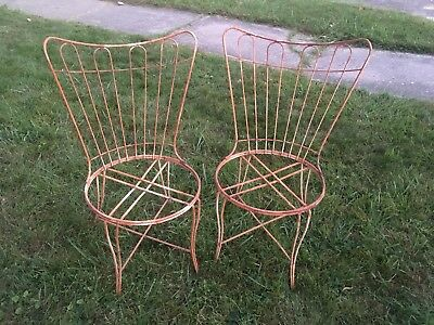 Vintage Wrought Iron Hairpin Ice Cream Parlor Style Chairs 1 Pair Aged Patina
