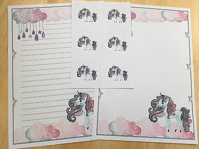 Unicorn 25 Sheet Letter Paper Writing Set & 6 Envelope Seals
