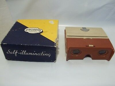 Vintage Arcadia Stereo Viewer Pocket Size Self Light with Box 3D Illuminated