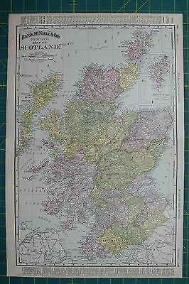 scotland vintage original 1895 rand mcnally world atlas map lot