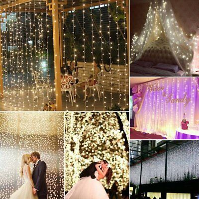 300/600 Led Curtain Fairy Lights Wedding Indoor Outdoor Christmas Garden Party P