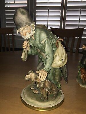 Cappe Figurine numbered old hobo man petting dog. Signed original  made in Italy