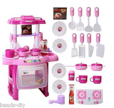 New Christmas Children Gift Play Kitchen Set Kids Pretend Toy Cooking Food Toys
