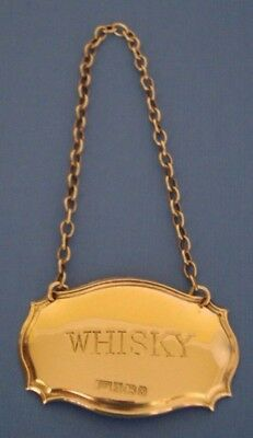 English Hallmark STERLING SILVER Liquor Bottle Label Tag WHISKEY