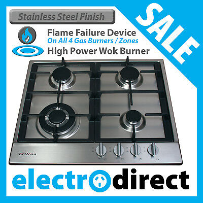 Brilcon 60cm Stainless Steel Gas Cooktop, Wok Burner +Cast Iron Trivets Cook Top