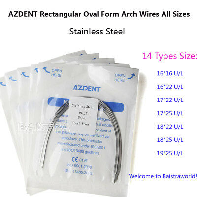 UK 10X Orthodontic Dental Arch Wires Rectangular Oval ALL SIZES Stainless Steel
