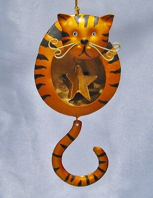 Tiger Cat with Star in Tummy Christmas Ornament New