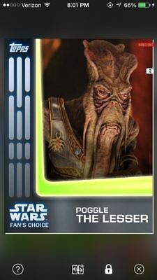Topps Star Wars Card Trader Digital App Card Fan's Choice Poggle The Lesser