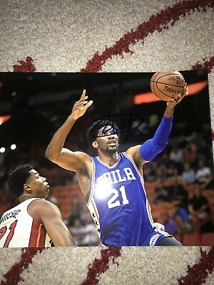5586d0bd7e0 Philadelphia 76ers Joel Embiid Signed Autographed Photo 8 By 10 Glossy  Authentic
