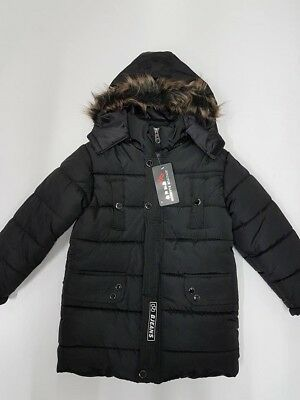 Kid Thick Parka Size 4 5 6 7 8 10 Boy Winter Hooded Puff Jacket Coat WH167 Black