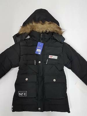 Kid Winter Jacket Size 4 5 6 7 8 10 Boy Puff Thick Hooded Coat Parka WH168 Black