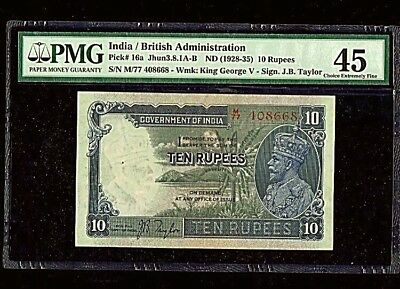 British India | 10 Rupees | KGV 1928-35 | Pick#16a | EF PMG 45