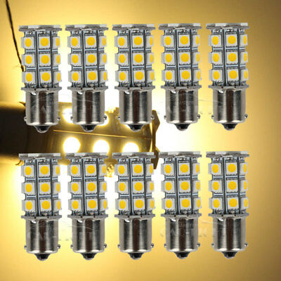 10x Warm White 1156 BA15S 27 SMD RV Camper Trailer Interior LED Lights 1141 1003