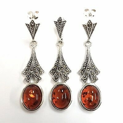 Stunning Art Deco Style Amber Marcasite Set Pendant Earrings Sterling 925 Silver