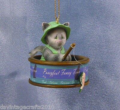 Tuna Cat Fisherman Gray Tabby Christmas Ornament New