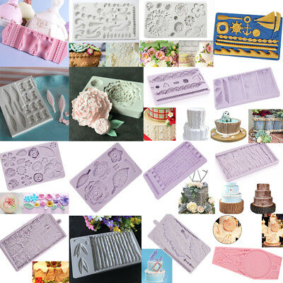 3D Wood Flower Relief Borders Silicone Cake Topper Fondant Mold Sugarcraft Mould
