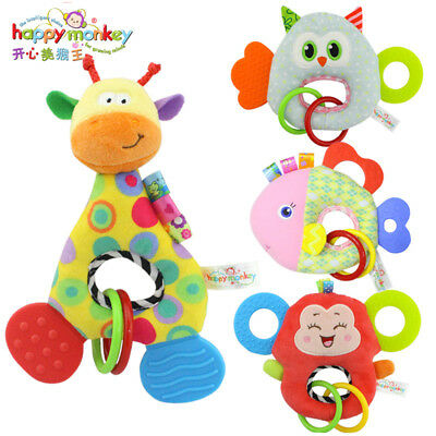 Newborn Baby Infant Animal Soft Rattles Teether Hanging Bell Plush Bebe Toys