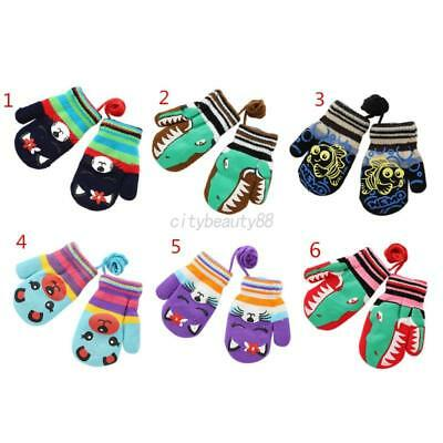US Infants Baby Girls Boys Winter Warm Gloves Stretchy Knitted Cartoon Mittens