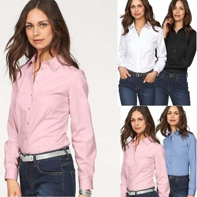 UK New Womens Long Sleeve Casual Blouse Ladies OL Work T Shirt Tops Size 6-16
