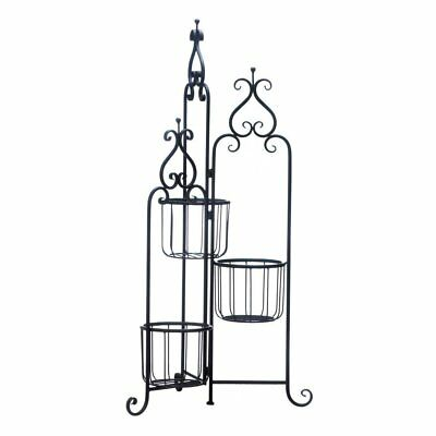 Potted Plant Stand, Modern Outdoor Rustic Black Iron 3-tier Plant Stand Pedestal