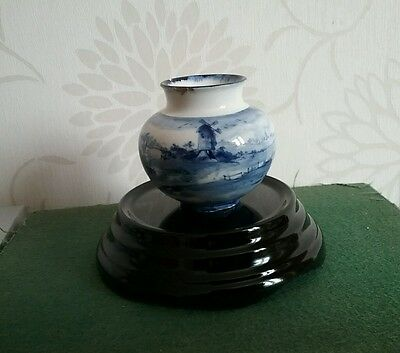 Antique Royal Doulton Burslem Norfolk miniature Vase Blue & White AF