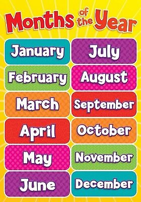 Months Of Year Children Kids Educational Poster Chart A4 Size School Home Learn