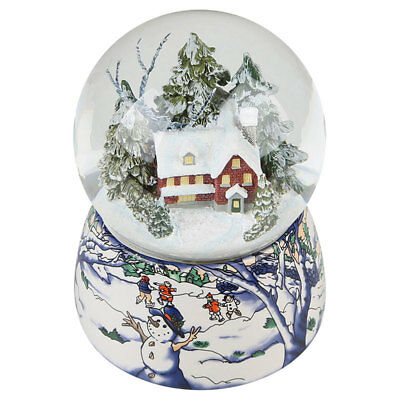 Snow&tree house Musical Snow Globe Waterball Music Box Rotating Xmas Crafts Gift