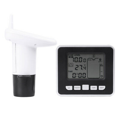 100m Wireless Ultrasonic Water Tank Level Meter Sensor w/Thermometer Transmitter