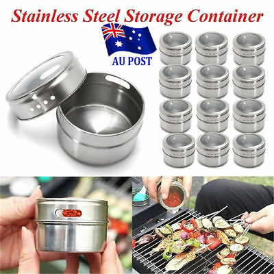 Magnetic Spice Tin Stainless Steel Storage Container Jar Clear Lid D:6.5cm BK