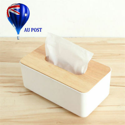 Plastic Home Room Car Tissue Box Wooden Cover Paper Napkin Holder Case BK