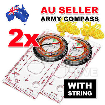 2X Orienteering Baseplate Compass Lensatic Map Tactical Army Gear Outdoor Hiking