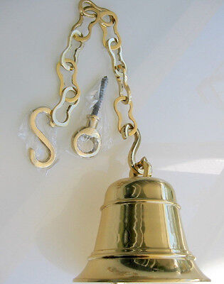 """EXTRA large Front Door school SHIP Bell chain POLISHED brass old style hang 8"""""""