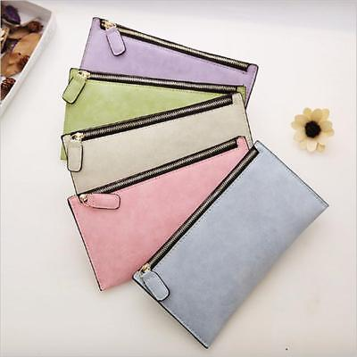Womens Lady Card Coin Key Holder Zip PU Leather Wallet Pouch Bag Purse Make UP N