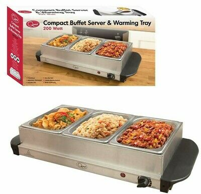 Daewoo 300W Large Electric Buffet Server 3 Warming Trays Hot Plate Food Warmer
