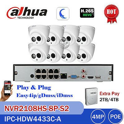 Dahua CCTV KIT 8CH NVR 2108HS-8P-S2 2TB HDD IPC-HDW4433C-A 4MP IP POE Camera Mic