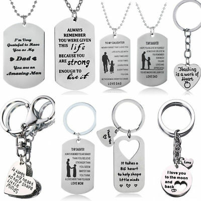 Mom Dad Son Daughter Gifts Love Heart Teacher Pendants Necklace Keychain Jewelry
