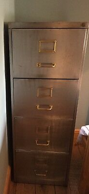 Vintage Industrial Stripped Metal Filing Cabinet, Brass Handles and Label Insert