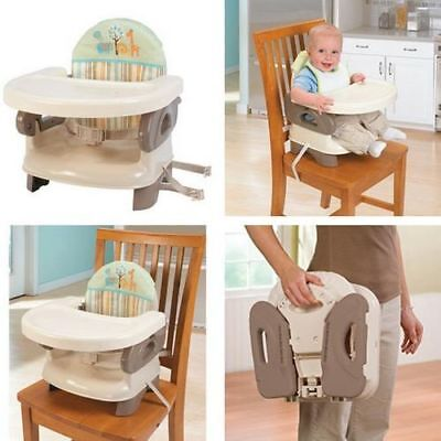 Comfortable Folding High Chair Booster Seat Compact Portable Baby Eat Travel Tan