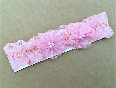 Gorgeous Pink Lace Net Garter with Faux Pearls Diamante and Rosettes
