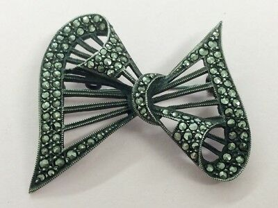 Antique Art Deco Silver & Marcasite Bow Brooch Pin 1940