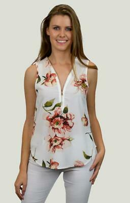 Stylish ladies womens sleeveless Zip Front Top in White with Autumn Floral