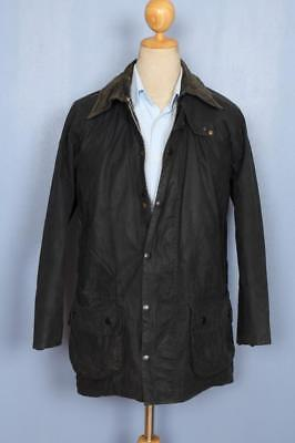 Mens BARBOUR Beaufort WAXED Jacket Navy Size 38